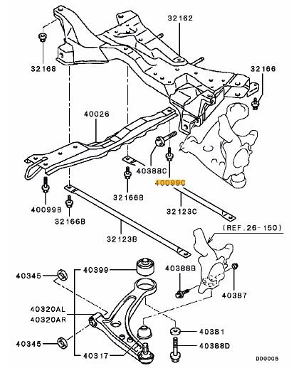 bolt  front axle crossmember