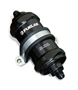FUELAB: 848 SERIES IN-LINE FUEL FILTER WITH CHECK VALVE: -8AN INLET/OUTLET